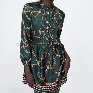 ZARA Satin Green Chain Print Pleated Dress